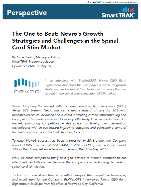 Nevro Spinal Cord Stimulator White Page Perspective